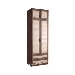 Жалюзи ДР-7 шкаф распашной (с реечными вставками Кантри и антресолью)