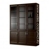 Шкаф для книг Библиограф-3 (трехдверная библиотека со стеклом)
