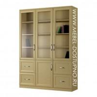 Шкаф для книг Библиограф-5  (трехдверная библиотека со стеклом)