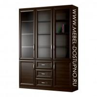 Шкаф для книг Библиограф-6  (трехдверная библиотека со стеклом)