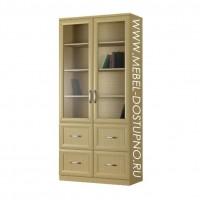 Шкаф для книг Библиограф-4  (двухдверная библиотека со стеклом)