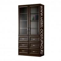 Шкаф для книг Библиограф-5  (двухдверная библиотека со стеклом)