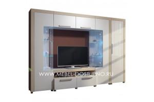 Стенка для гостиной Флоренция-3 со шкафом глянцевый МДФ