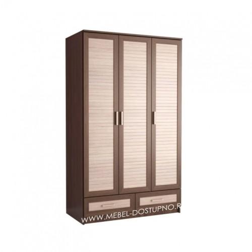 Жалюзи ТР-3 шкаф распашной (с реечными вставками Кантри и ящиками)