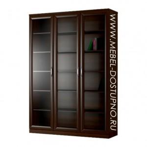 Шкаф для книг Библиограф-1 (трехдверная библиотека со стеклом)
