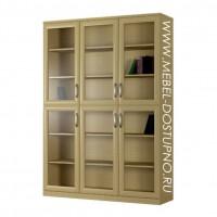 Шкаф для книг Библиограф-2  (трехдверная библиотека со стеклом)