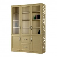 Шкаф для книг Библиограф-4  (трехдверная библиотека со стеклом)