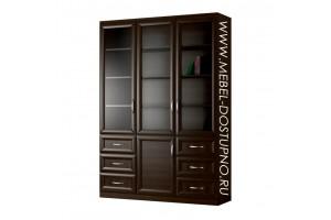 Шкаф для книг Библиограф-7  (трехдверная библиотека со стеклом)