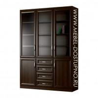 Шкаф для книг Библиограф-8  (трехдверная библиотека со стеклом)