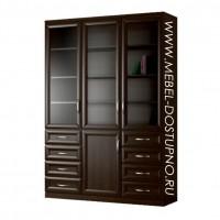 Шкаф для книг Библиограф-9  (трехдверная библиотека со стеклом)