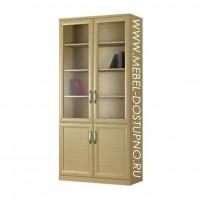 Шкаф для книг Библиограф-3  (двухдверная библиотека со стеклом)