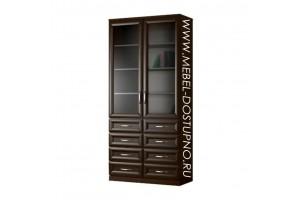 Шкаф для книг Библиограф-6  (двухдверная библиотека со стеклом)